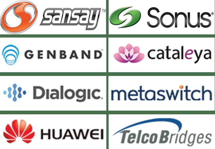 Sansay, Sonus, Genband, Cataleya, Dialogic, Metaswitch, Huawei, TelcoBridges